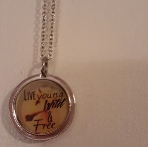 """""""Live young wild and free"""" charm necklace"""